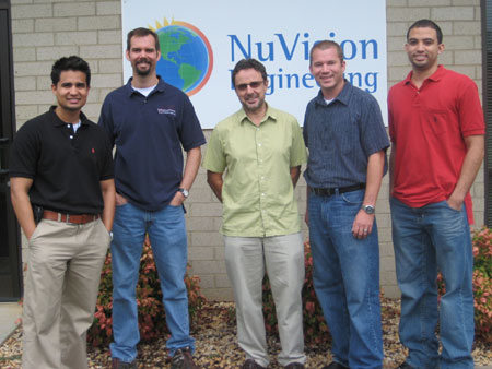 DOE Fellows Edgard Espinosa (left) and Lee Brady (right) with mentors at NuVision Engineering