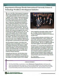 DOE Fellows Program featured in DOE's D&D and Facility Management (EM-44) Quarterly newsletter
