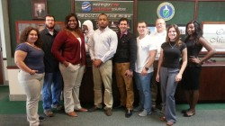 DOE Fellows Dayron Chigin (fourth from the right) and Jennifer Arniella (second from the right) with fellow URS interns at Washington River Protection Solutions, Office of River Protection, Richland, Washington