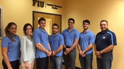 In the picture (from left to right) Awmna Rana (Communication Officer), Carolina Padron (Secretary), Ryan Sheffield (President), Maximiliano Edrei (Vice President), Janesler Gonzalez (Officer - special programs), Jesse Viera (Treasurer) and Dr. Leo Lagos (FIU Chapter advisor).