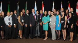 David Huizenga (DOE Senior Advisor for EM, 8th from left) with FIU's DOE Fellows and Dr. Leo Lagos (DOE Fellows Program Director, 10th from left) at WM2012