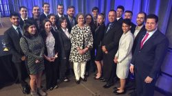 FIU DOE Fellows with DOE-EM's Acting Assistant Secretary, Sue Cange, DOE-EM International Program Benjamin Rivera, and DOE Fellows program Director/PI, Dr. Leonel Lagos at WM17. DOE Fellows (Back row left to right) Gene Yllanes, Hansell Gonzalez-Raymat, Mohammed Albassam, Alexander Piedra, Alejandro Gonzalez, Alejandro Hernandez, Sebastian Zanlongo, Juan Morales, Michael DiBono, Andres Cremisini. (Front row left to right) Clarice Davila, Silvina Di Pietro, Christine Wipfli, Frances Zengotita, Sarah Solomon, Ripley Raubenolt, Alexis Smoot.