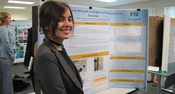 DOE Fellow Frances Zengotita speaks at the Life Sciences South Florida Undergraduate Research Symposium.