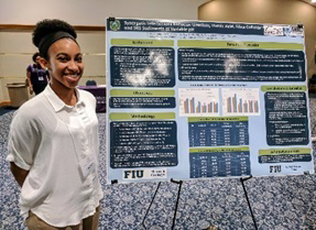 DOE Fellow Alexis Smoot presents a research poster at the FIU Undergraduate Research Conference.