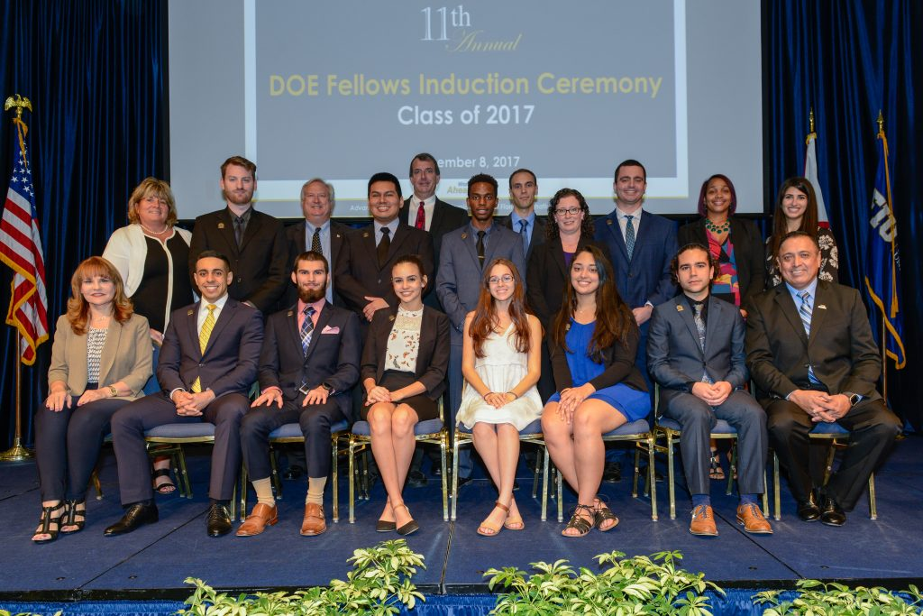 EM and Florida International University officials join the DOE Fellows Class of 2017 and other guests at the recent induction ceremony.