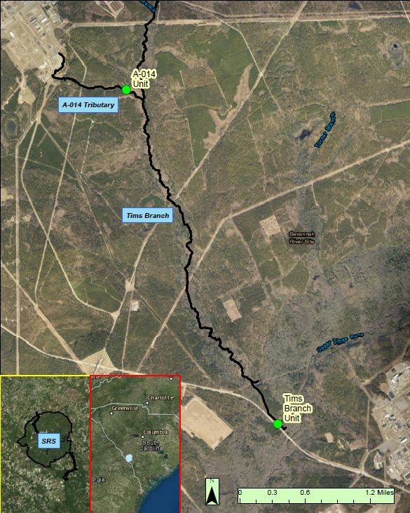 Deployment locations of the two remote monitoring stations along the Tims Branch watershed