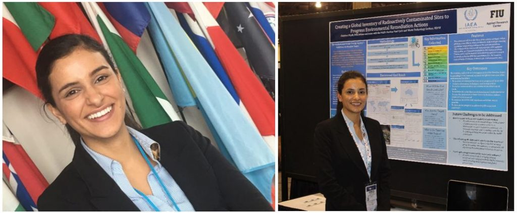 Christine Wipfli during her 1 year internship at IAEA (right) and during poster presentation at WM 2017 (left)