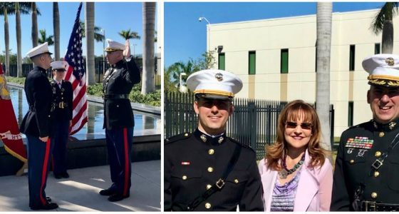Official commissioning of Second Lieutenant Jesse Viera into the U.S. Marine Corps on  March 3, 2018 (left) and with Dr. Inés Triay (Executive Director, FIU ARC) and Mr. Joseph Sinicrope.