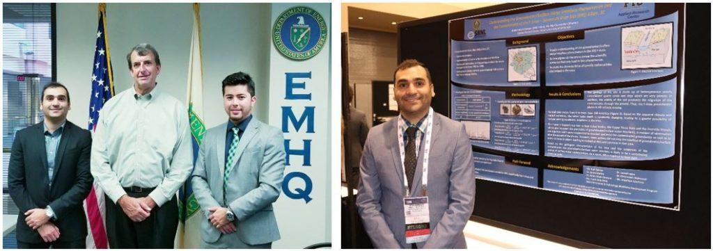 Mohammed Albassam at DOE-HQ during his 2017 summer internship with his mentor Skip Chamberlin and DOE Fellow Juan Morales (left) and presenting poster at WM2018 (right)