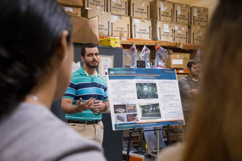 FIU student briefing on the incombustible fixative demonstration at SRNL