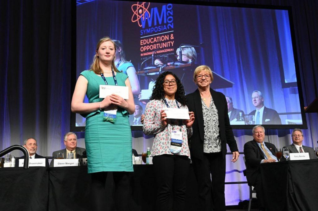 WM20 Undergraduate Student Poster Winner – DOE Fellow Anilegna Nunez Abreu (center) receiving an award during the award luncheon.