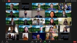 DOE and Florida International University (FIU) officials recently introduced FIU science, technology, engineering, and math (STEM) students as the new DOE Fellows Class of 2020 in a virtual ceremony. Top row, from left, Fellows Brendon Cintas, Eduardo Rojas, Stevens Charles, and Sebastian Story; second row, from left, Fellows Christian Dau, Joel Adams, Ryan Ocampo, Phuong Pham, and Christian Gonzalez Lopez; third row, from left, Fellows Josue Estrada, Alicia Maratos, Adrian Muino, and Lorryn Andrade, and FIU Applied Research Center Executive Director Inés Triay; fourth row, from left, EM Minority Serving Institutions Partnership Program Manager Genia McKinley, Fellow Thi Tran, FIU DOE Fellows Program Director and Director of Research Dr. Leonel Lagos, DOE Fellows Program Manager Ravi Gudavalli, and DOE Office of Legacy Management (LM) Site Manager Jalena Dayvault; and fifth row, from left, LM Director Carmelo Melendez, Fellow Olivia Bustillo, Class of 2019, Fellow Aurelien Meray, and Fellow Gisselle Gutierrez-Zuniga, Class of 2019.